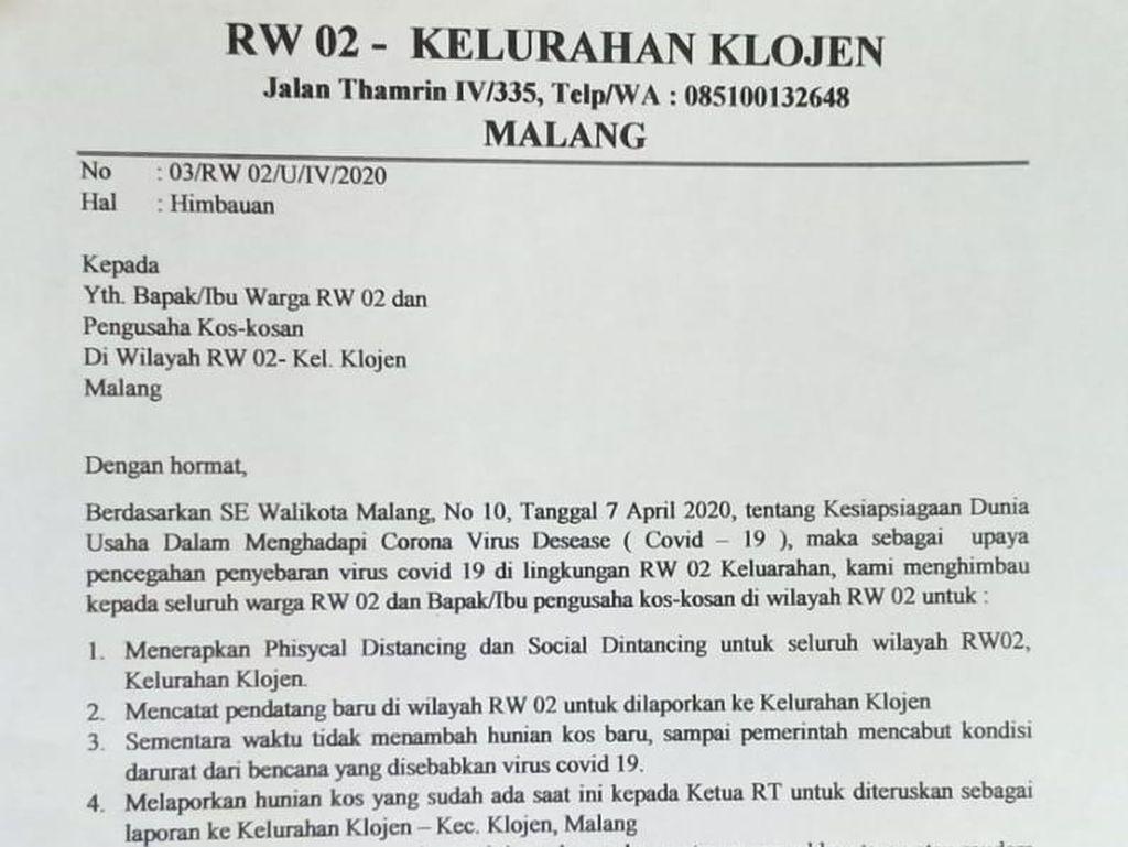 Klarifikasi soal Surat Edaran RW di Kota Malang Tolak Tenaga Medis Ngekos