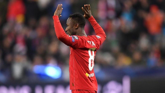 SALZBURG, AUSTRIA - DECEMBER 10: Naby Keita of Liverpool celebrates after he scores his teams first goal during the UEFA Champions League group E match between RB Salzburg and Liverpool FC at Red Bull Arena on December 10, 2019 in Salzburg, Austria. (Photo by Michael Regan/Getty Images)