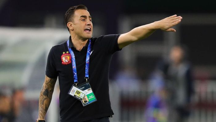 TIANJIN, CHINA - MAY 08: Head coach Fabio Cannavaro of Guangzhou Evergrande gestures during the AFC Champions League Round of 16 first leg match between Tianjin Quanjian and Guangzhou Evergrande at the Tianjin Olympic Center Stadium on May 8, 2018 in Tianjin, China.  (Photo by Lintao Zhang/Getty Images)