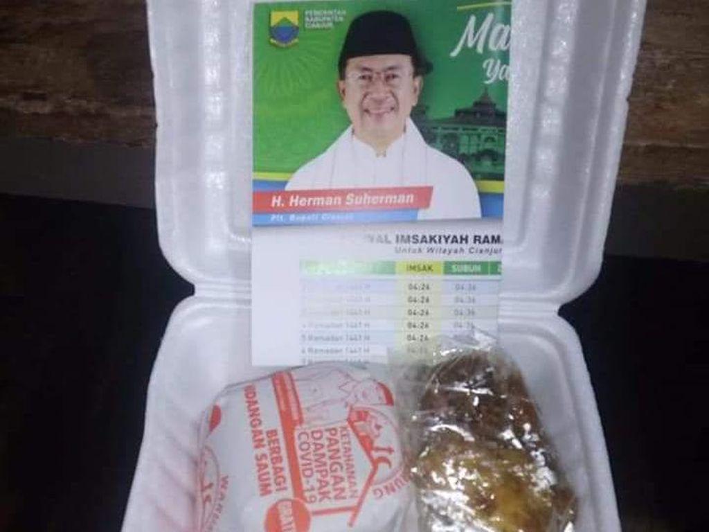 Polemik Nasi Kotak Berstiker Foto Pribadi, Plt Bupati Cianjur : Itu Dana Pribadi