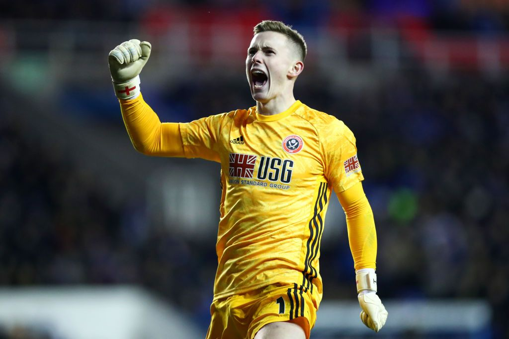 READING, ENGLAND - MARCH 03:  Dean Henderson of Sheffield United celebrates his side's second goal during the FA Cup Fifth Round match between Reading FC and Sheffield United at Madejski Stadium on March 03, 2020 in Reading, England. (Photo by Dan Istitene/Getty Images)