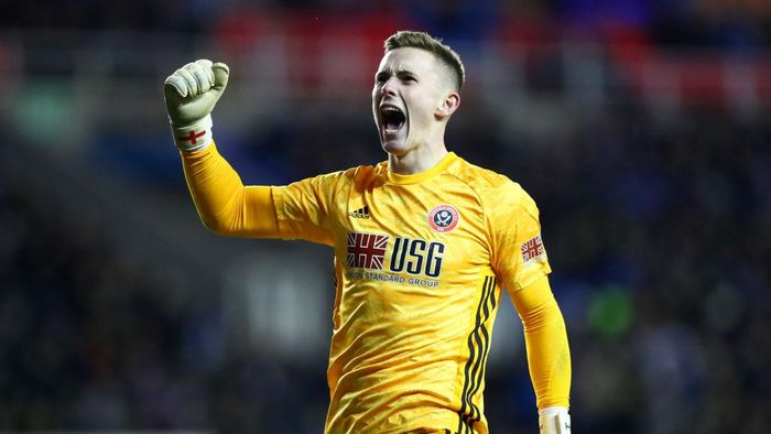 READING, ENGLAND - MARCH 03:  Dean Henderson of Sheffield United celebrates his sides second goal during the FA Cup Fifth Round match between Reading FC and Sheffield United at Madejski Stadium on March 03, 2020 in Reading, England. (Photo by Dan Istitene/Getty Images)