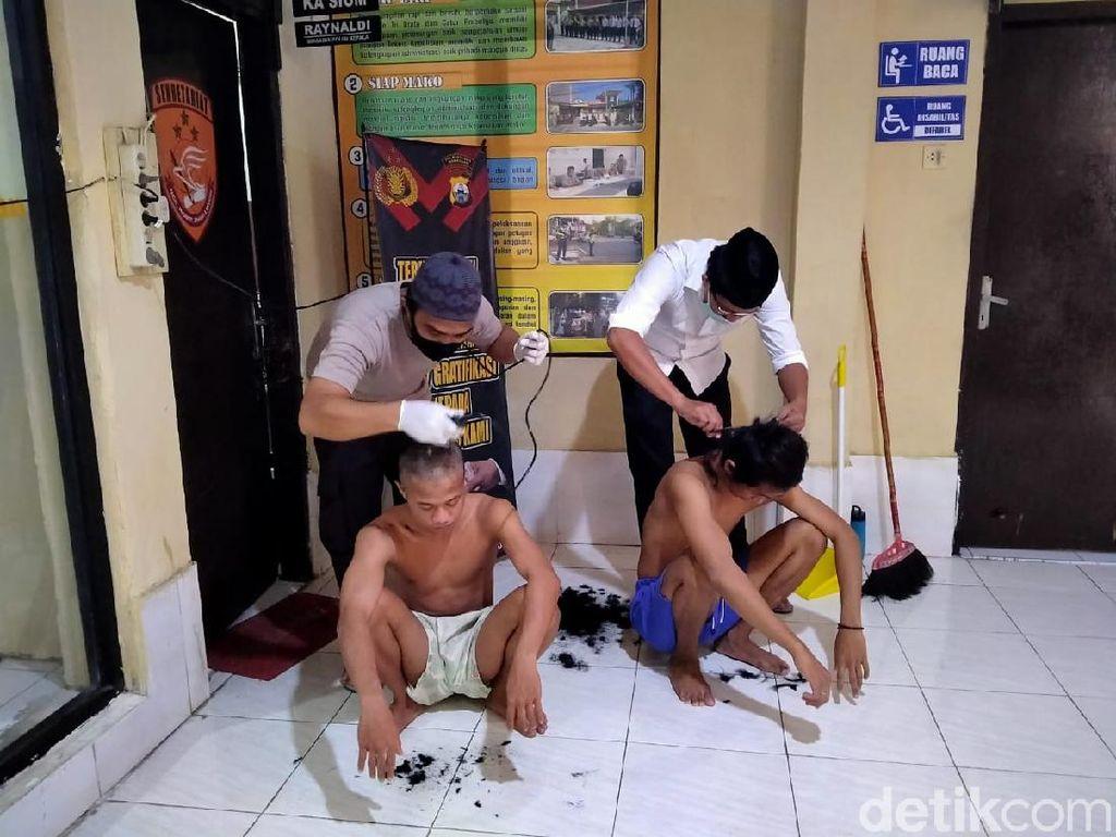 Masih Nekat Lawan Aturan PSBB Makassar, Pelaku Balap Liar Dicukur Gundul!