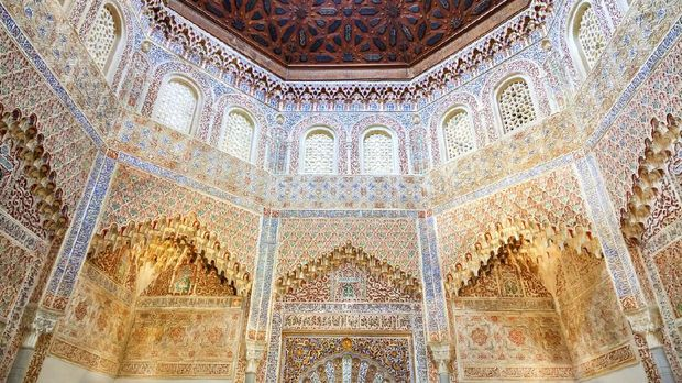 Granada, Spain - October 4, 2013: Interior of the Madrasah of Granada, mosque school founded in 1349 by Yusuf I. Currently its part of the University of Granada