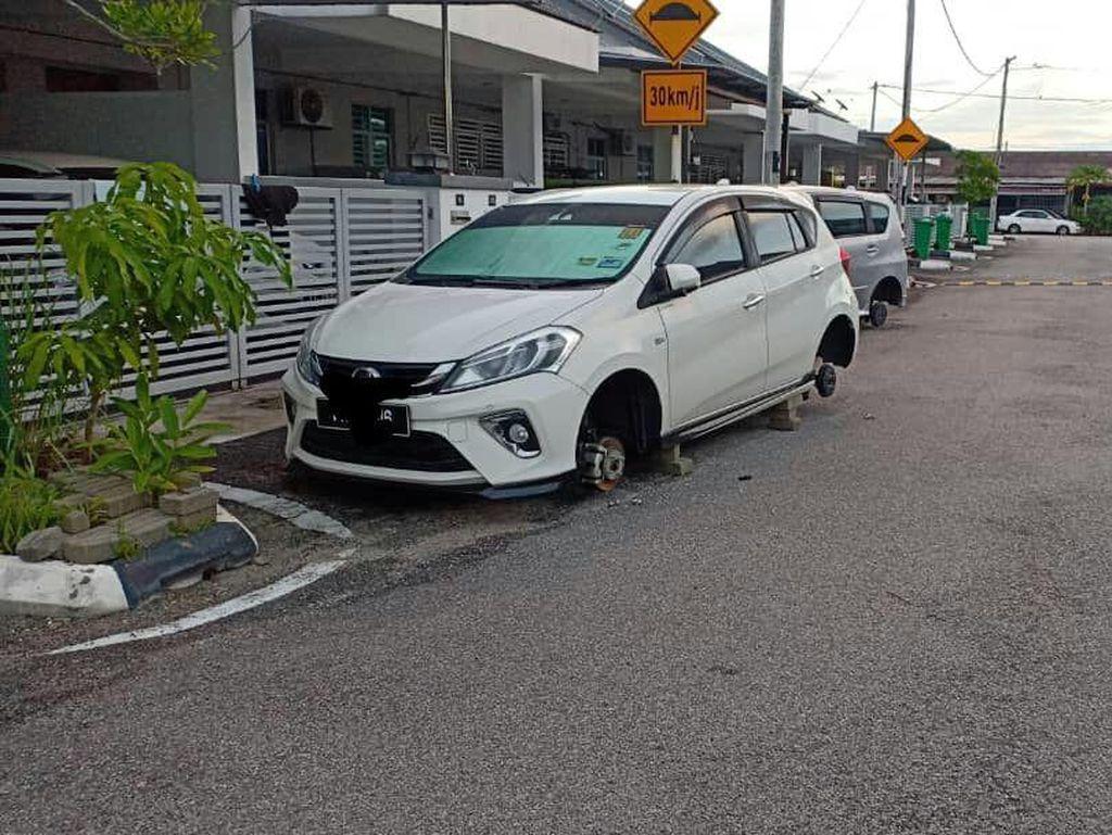 Di Malaysia Marak Pencurian Pelek Mobil yang Lagi di Parkir