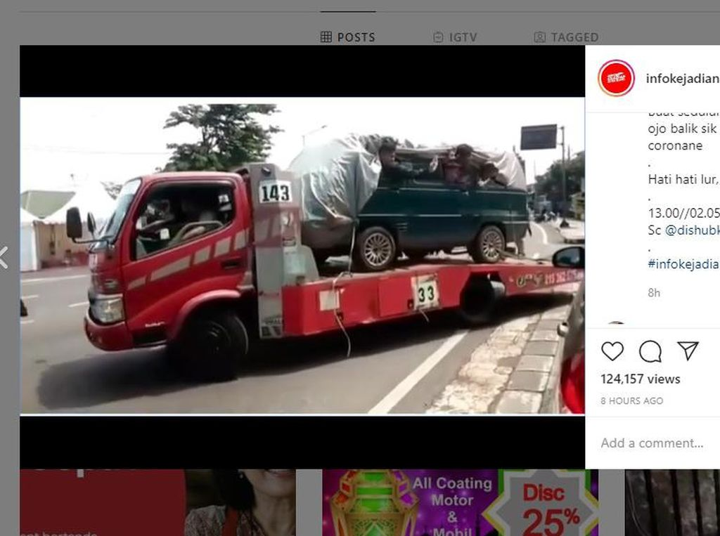Dipergoki Polisi, Truk Towing Angkut Minibus Selundupkan 8 Pemudik