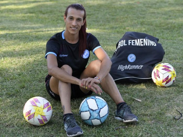 Argentine football player Mara Gomez poses for a photo before the start of a training session with her first division womens football team, Villa San Carlos, in La Plata, Argentina, on February 14, 2020. - Gomez, a transgender woman, was waiting to get the official authorization from the Argentina Football Association (AFA) to compete in the womens first division football tournament before the new coronavirus outbreak. (Photo by JUAN MABROMATA / AFP)