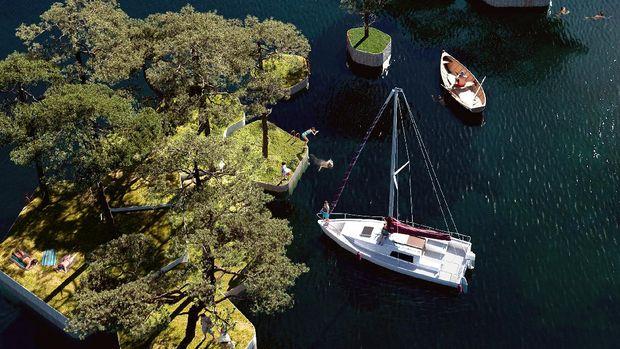 Floating park in Copenhagen, Denmark.