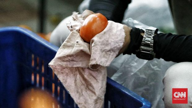 Pedagang melayani pengunjung yang hendak membeli kebutuhan pokok di Toko Tani Indonesia Center (TTIC) dan Toko Tani Indonesia (TTI), Ragunan, Selasa, Jakarta (05/05/2020). Pasar tani yang menggelar barang kebutuhan pokok bagi warga tersebut melayani penjualan online dengan aplikasi dan offline. Hal tersebut sebagai upaya meningkatkan akses pangan bagi masyarakat untuk mendapatkan pangan strategis seperti, beras, gula pasir, daging sapi, daging ayam, telur ayam, bawang merah, bawang putih, minyak goreng, cabai, sayur, dan buah dengan harga di bawah harga pasar dengan harapan dapat menstabilkan harga ditingkat eceran. CNN Indonesia/Andry Novelino