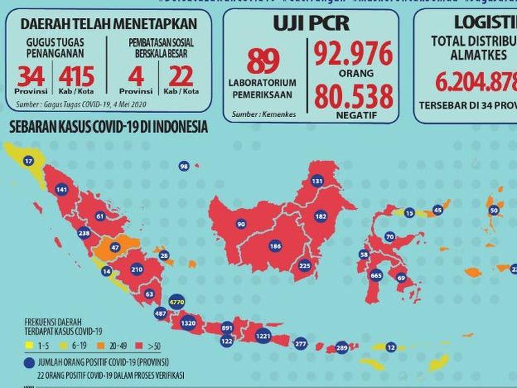 Update Tampilan Peta Indonesia Terinfeksi Corona di 10 Provinsi