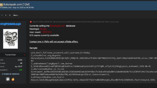 Data bukalapak dijual di Raid Forums