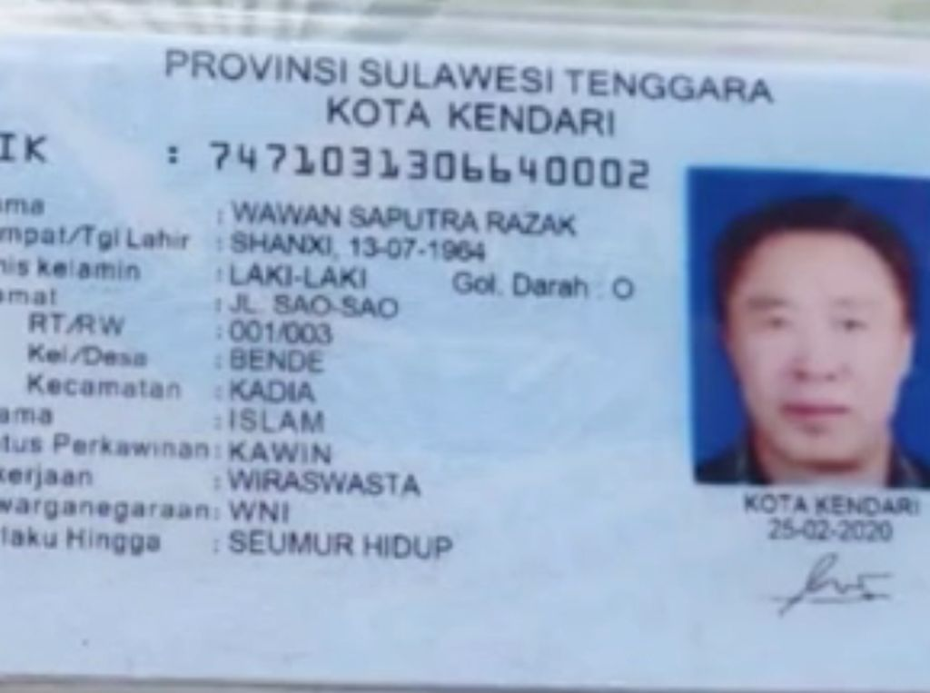 TKA China Pakai KTP Palsu, Disdukcapil Kendari Diinvestigasi