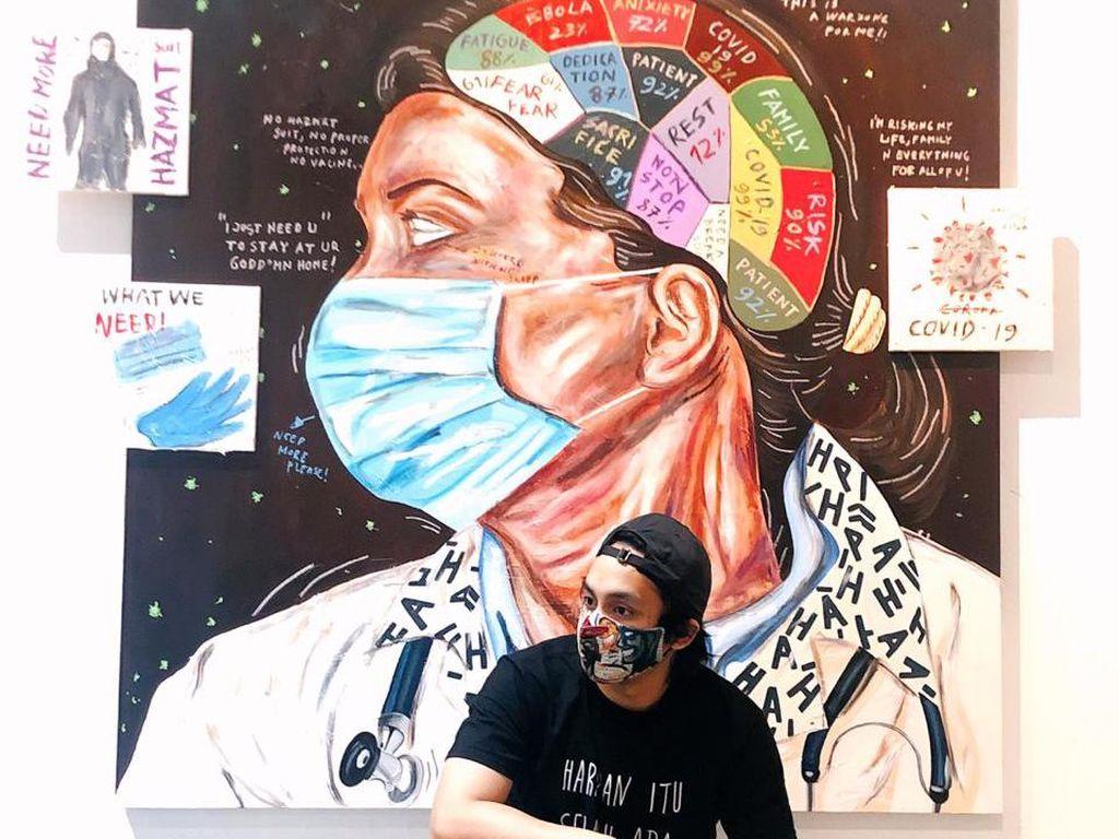 Naufal Abshar Bikin Lukisan Spesial untuk Tenaga Medis Indonesia