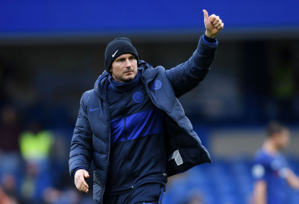 LONDON, ENGLAND - MARCH 08: Frank Lampard, Manager of Chelsea reacts after his sides victory during the Premier League match between Chelsea FC and Everton FC at Stamford Bridge on March 08, 2020 in London, United Kingdom. (Photo by Mike Hewitt/Getty Images)