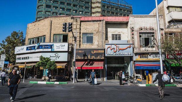Tehran, Iran - October 15, 2016: Buildings at crossroads of Jomhouri Avenue and Ferdowsi Avenue in Tehran