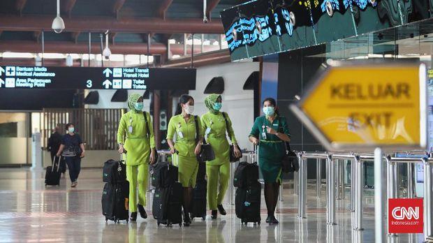 Awak kabin maskapai citilink di Terminal 2, Bandara Soekarno Hatta, Tangerang, Banten.