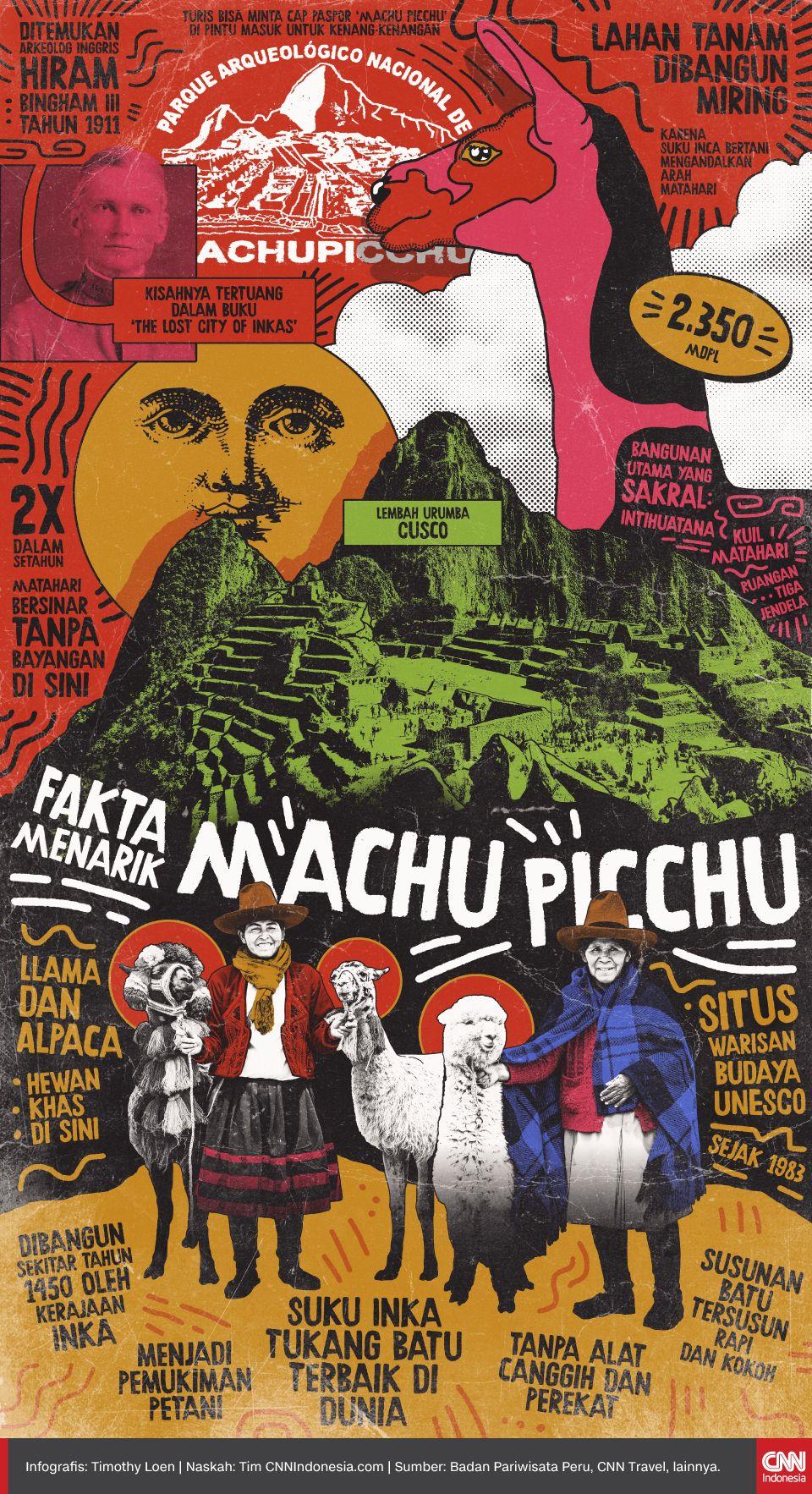 Bagi turis yang menggemari sejarah dan arsitektur rasanya wajib ke Machu Picchu, salah satu pemukiman Kerajaan Inca di Peru yang kerap disebut warisan alien saking visionernya.