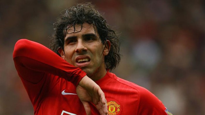 MANCHESTER, UNITED KINGDOM - MAY 10:   Carlos Tevez of Manchester United looks on during the Barclays Premier League match between Manchester United and Manchester City at Old Trafford on May 10, 2009 in Manchester, England. (Photo by Alex Livesey/Getty Images)