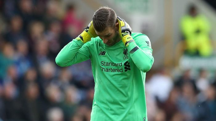 BURNLEY, ENGLAND - AUGUST 31: Adrian of Liverpool reacts during the Premier League match between Burnley FC and Liverpool FC at Turf Moor on August 31, 2019 in Burnley, United Kingdom. (Photo by Jan Kruger/Getty Images)