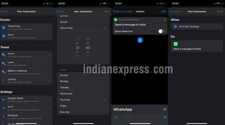 Cara schedule atau menjadwalkan pesan di WhatsApp di iOS.