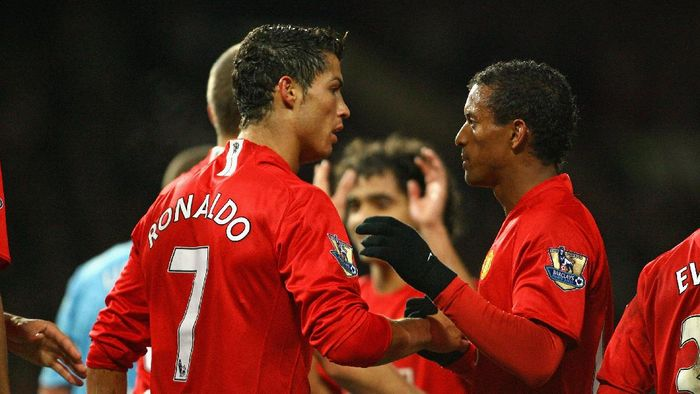 MANCHESTER, UNITED KINGDOM - OCTOBER 29:  Cristiano Ronaldo of Manchester United celebrates with Nani after scoring his second goal during the Barclays Premier League match between Manchester United and West Ham United at Old Trafford on October 29, 2008 in Manchester, England.  (Photo by Alex Livesey/Getty Images)