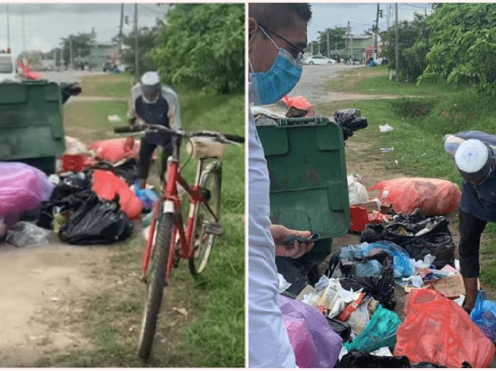 Miris! Pria Ini Cari Sisa Makanan di Tempat Sampah untuk Buka Puasa
