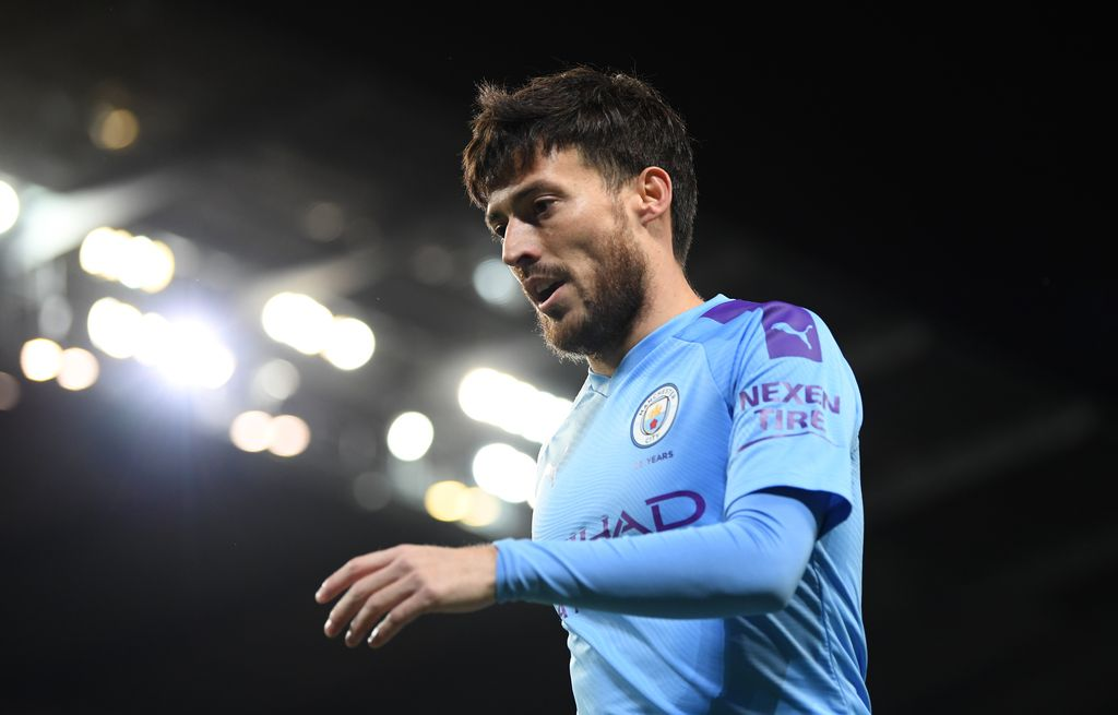 MANCHESTER, ENGLAND - JANUARY 29:  David Silva of Manchester City during the Carabao Cup Semi Final match between Manchester City and Manchester United at Etihad Stadium on January 29, 2020 in Manchester, England. (Photo by Shaun Botterill/Getty Images)