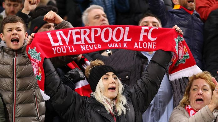 NORWICH, ENGLAND - FEBRUARY 15: Fans of Liverpool during the Premier League match between Norwich City and Liverpool FC at Carrow Road on February 15, 2020 in Norwich, United Kingdom. (Photo by Catherine Ivill/Getty Images)