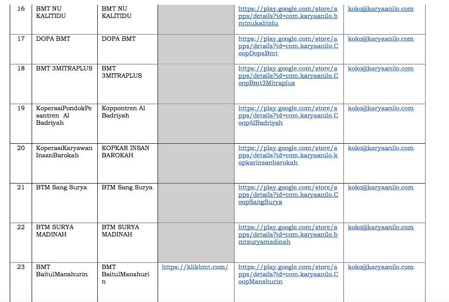 Daftar Aplikasi Pinjaman Online Koperasi di Playstore (Dok. OJK)