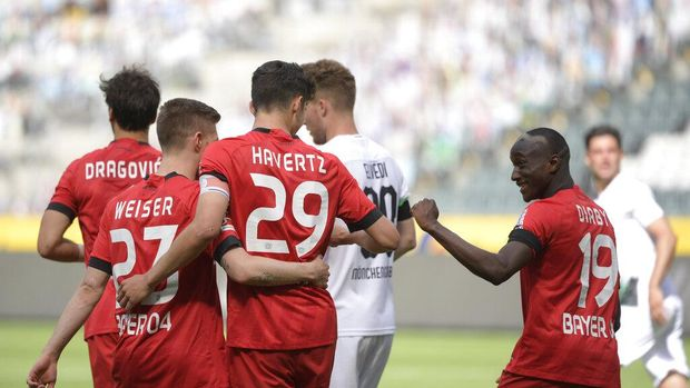 Kai Havertz usai mencetak gol kedua ke gawang Gladbach. (Ina Fassbender Pool Photo via AP)