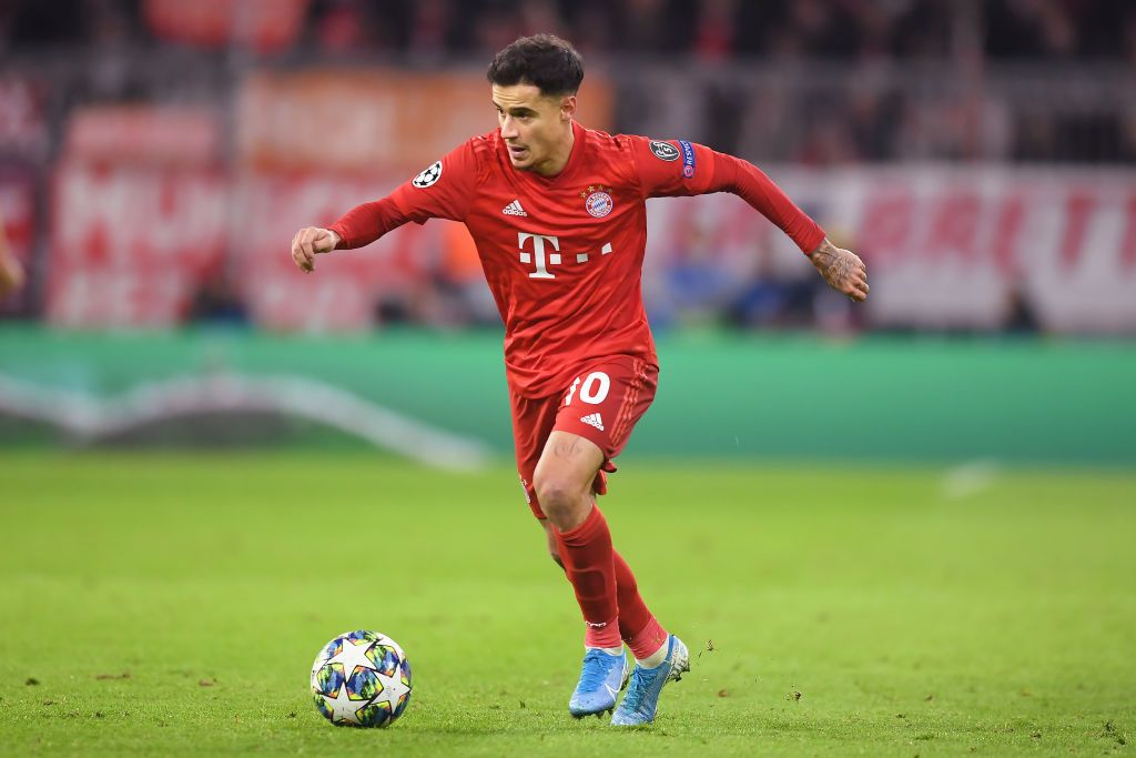 MUNICH, GERMANY - DECEMBER 11: Philippe Coutinho of Bayern Munich in action during the UEFA Champions League group B match between Bayern Muenchen and Tottenham Hotspur at Allianz Arena on December 11, 2019 in Munich, Germany. (Photo by Michael Regan/Getty Images)