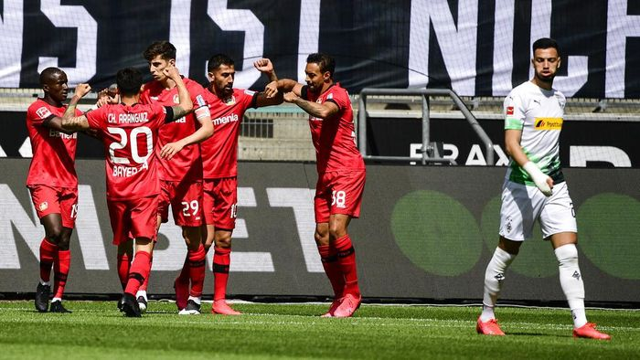 Leverkusens Kai Havertz, 3rd left, celebrates with teammates scoring during the German Bundesliga soccer match between Borussia Moenchengladbach and Leverkusen, in Moenchengladbach, Germany, Saturday, May 23, 2020. (Ina Fassbender Pool Photo via AP)