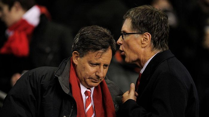LIVERPOOL, ENGLAND - JANUARY 25:  Liverpool owners Tom Werner (L) and John Henry speak prior to the Carling Cup Semi Final Second Leg match between Liverpool and Manchester City at Anfield on January 25, 2012 in Liverpool, England.  (Photo by Michael Regan/Getty Images)
