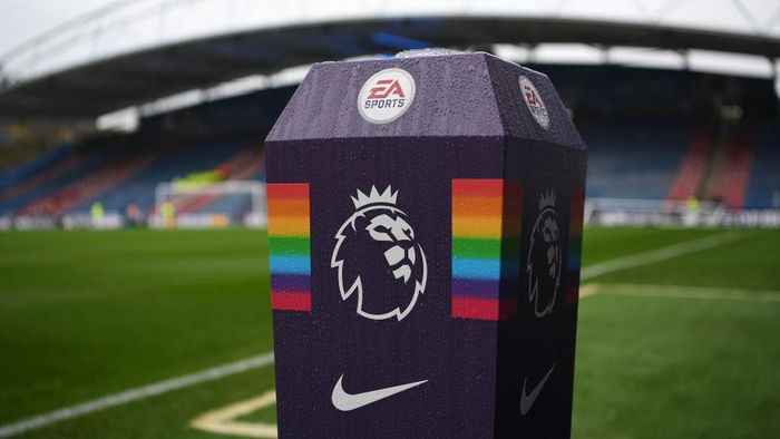 HUDDERSFIELD, ENGLAND - DECEMBER 01:  The Premier League logo is seen along side the This is Everyones Game campaign branding prior to the Premier League match between Huddersfield Town and Brighton & Hove Albion at John Smiths Stadium on December 1, 2018 in Huddersfield, United Kingdom.  (Photo by Gareth Copley/Getty Images)