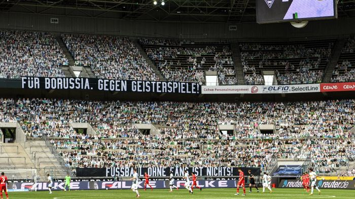 MOENCHENGLADBACH, GERMANY - MAY 23: A banner reading