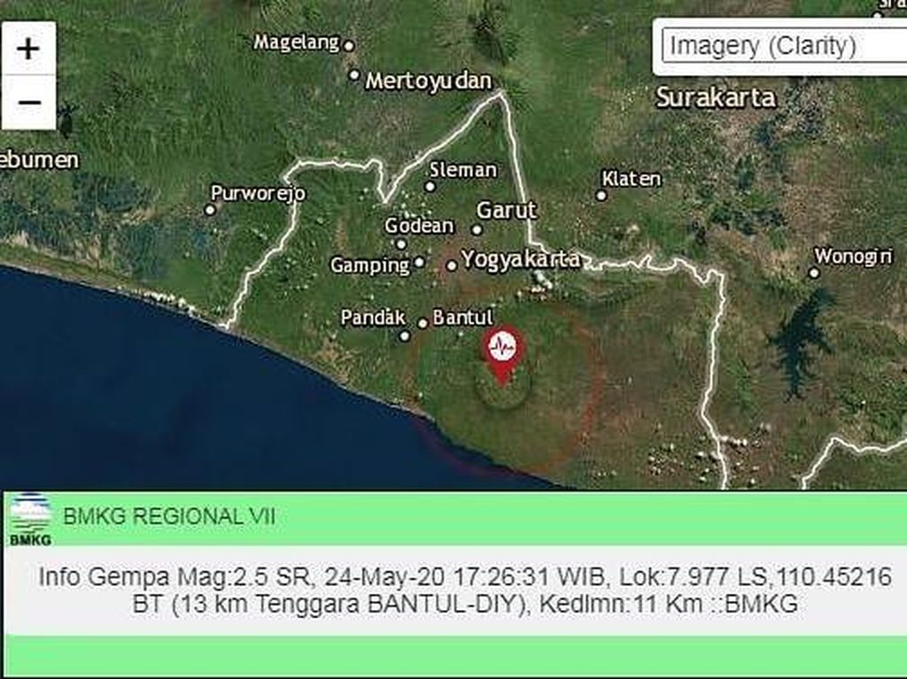 Gempa Darat M 2,5 Terjadi di Bantul