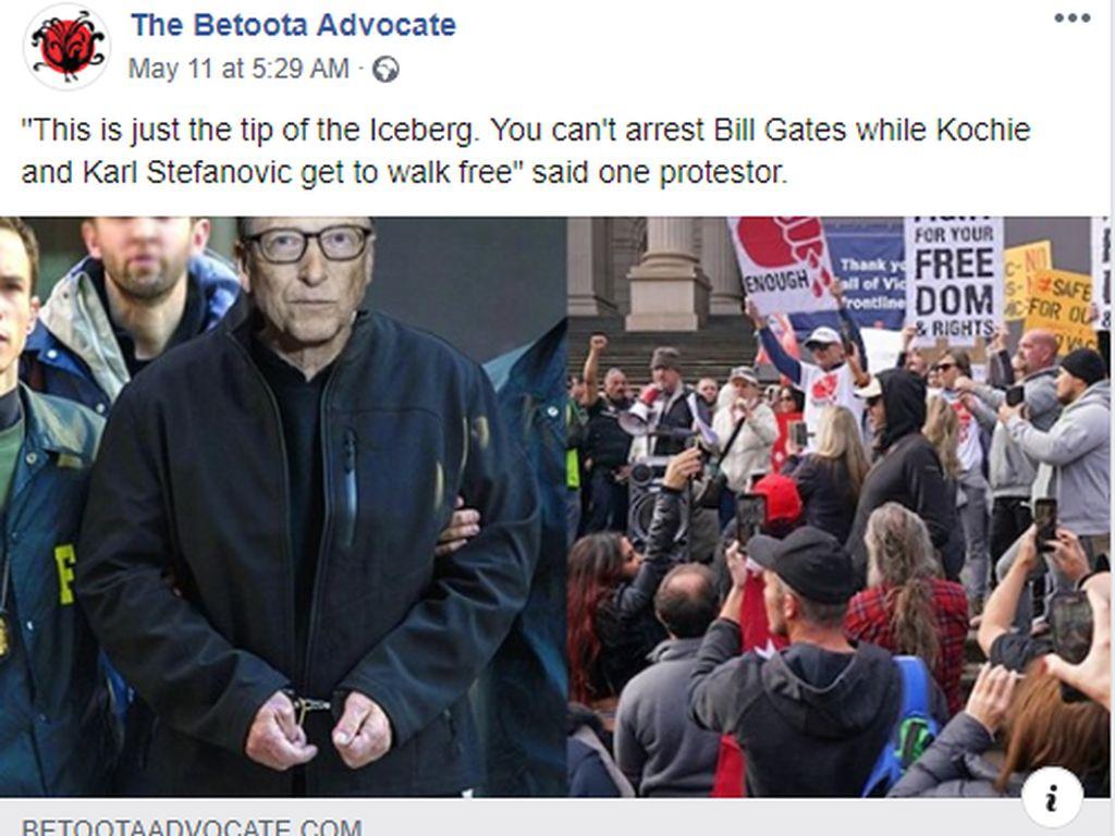 Beredar Gambar FBI Tangkap Bill Gates Atas Teror Biologis, Begini Faktanya