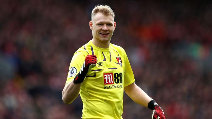 LIVERPOOL, ENGLAND - MARCH 07: Aaron Ramsdale of AFC Bournemouth celebrates his sides first goal during the Premier League match between Liverpool FC and AFC Bournemouth  at Anfield on March 07, 2020 in Liverpool, United Kingdom. (Photo by Jan Kruger/Getty Images)