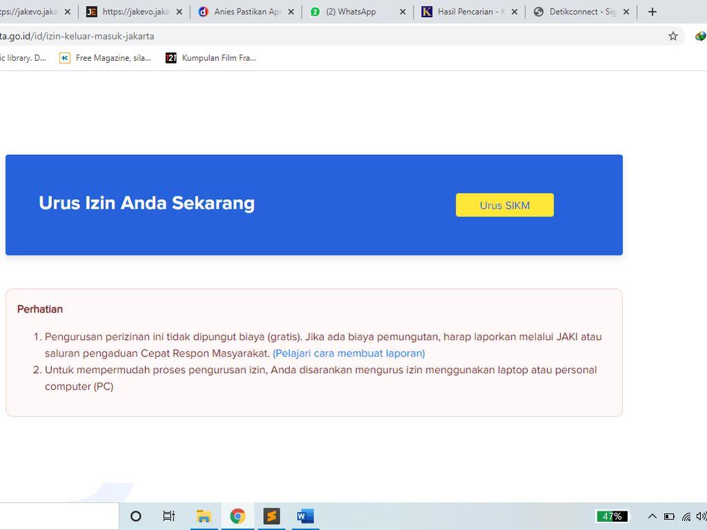 Cara Bikin SIKM atau Surat Izin Keluar Masuk Jakarta Online di corona.jakarta.go.id