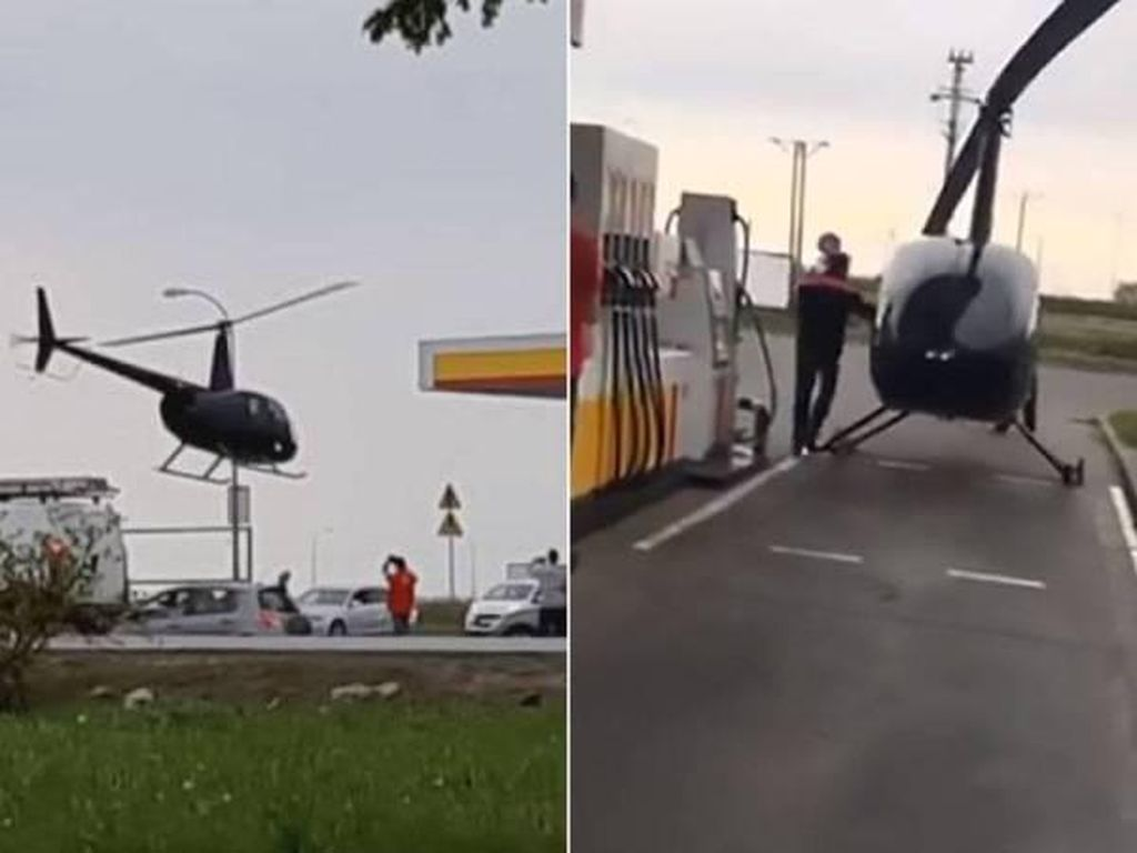 Duh, Helikopter Ini Isi Bahan Bakar di SPBU