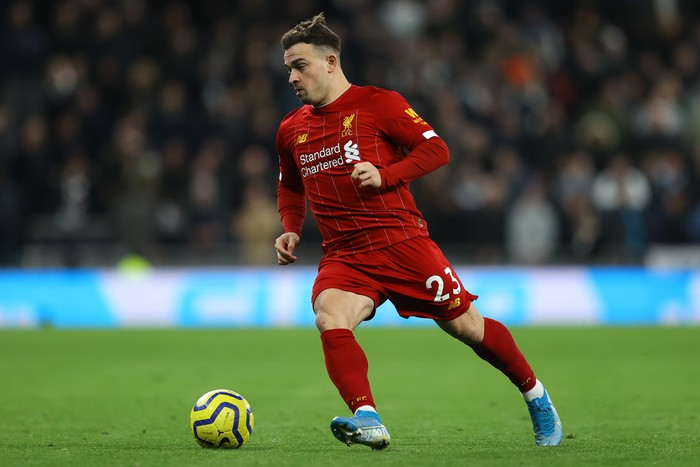 LONDON, ENGLAND - JANUARY 11: Xherdan Shaqiri of Liverpool in action during the Premier League match between Tottenham Hotspur and Liverpool FC at Tottenham Hotspur Stadium on January 11, 2020 in London, United Kingdom. (Photo by Richard Heathcote/Getty Images)