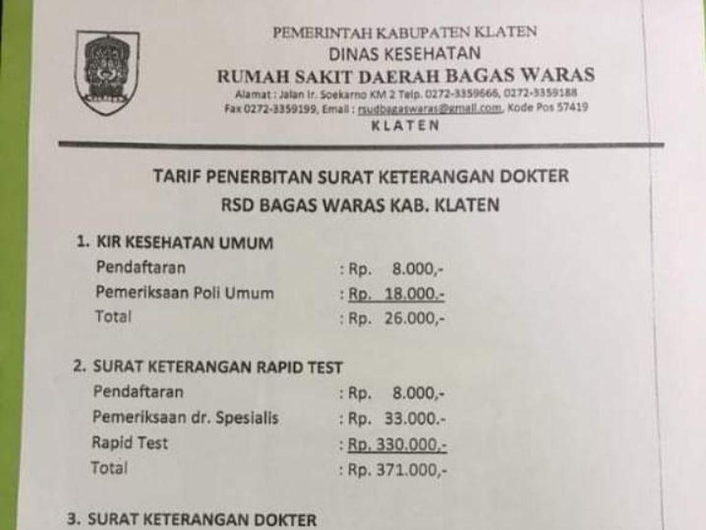 Beredar Tarif Penerbitan Surat Keterangan Dokter di Klaten, Ini Faktanya