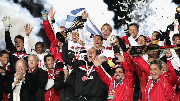 Sao Paulo merayakan gelar juara Piala Dunia Antarklub 2005.