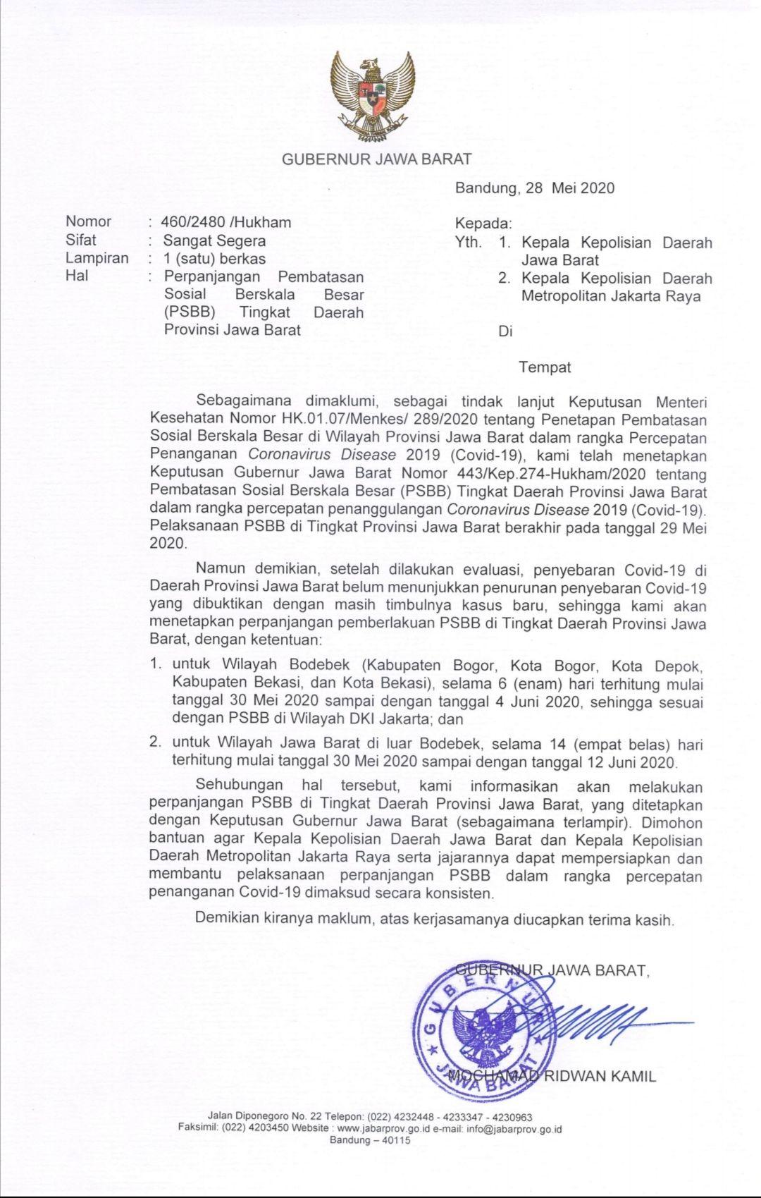 Perpanjangan PSBB Jawa Barat ditetapkan dalam Keputusan Gubenur.