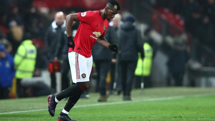 MANCHESTER, ENGLAND - DECEMBER 26: Paul Pogba of Manchester United is substituted on during the Premier League match between Manchester United and Newcastle United at Old Trafford on December 26, 2019 in Manchester, United Kingdom. (Photo by Clive Brunskill/Getty Images)