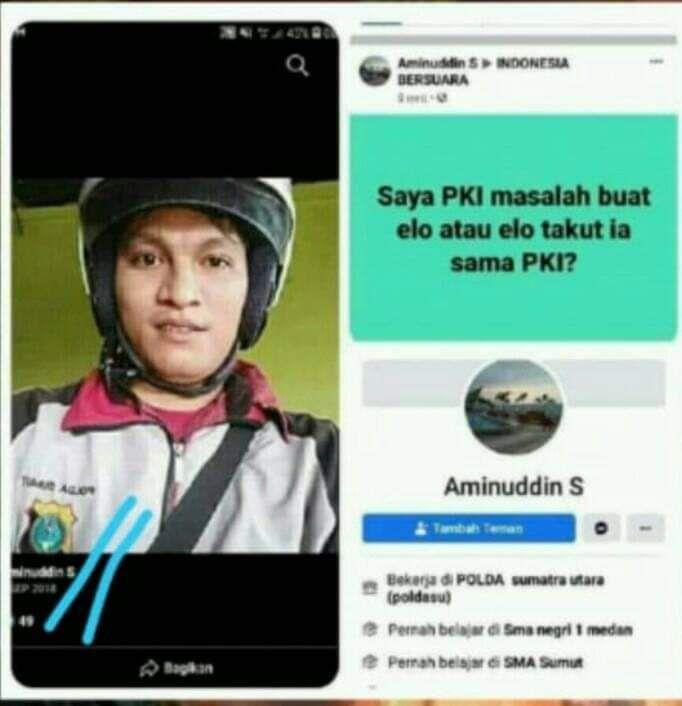 Screenshot viral tangkapan layar akun FB ngaku kerja di Polda Sumut