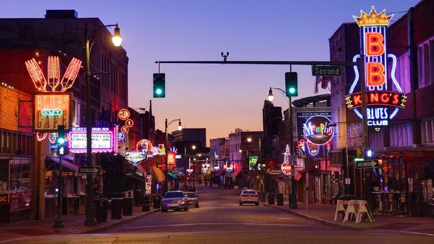 Memphis, Tennessee, USA - September 9, 2011: A historic area of downtown Memphis, TN, Beale Street is lined with restaurants, clubs, and shops.