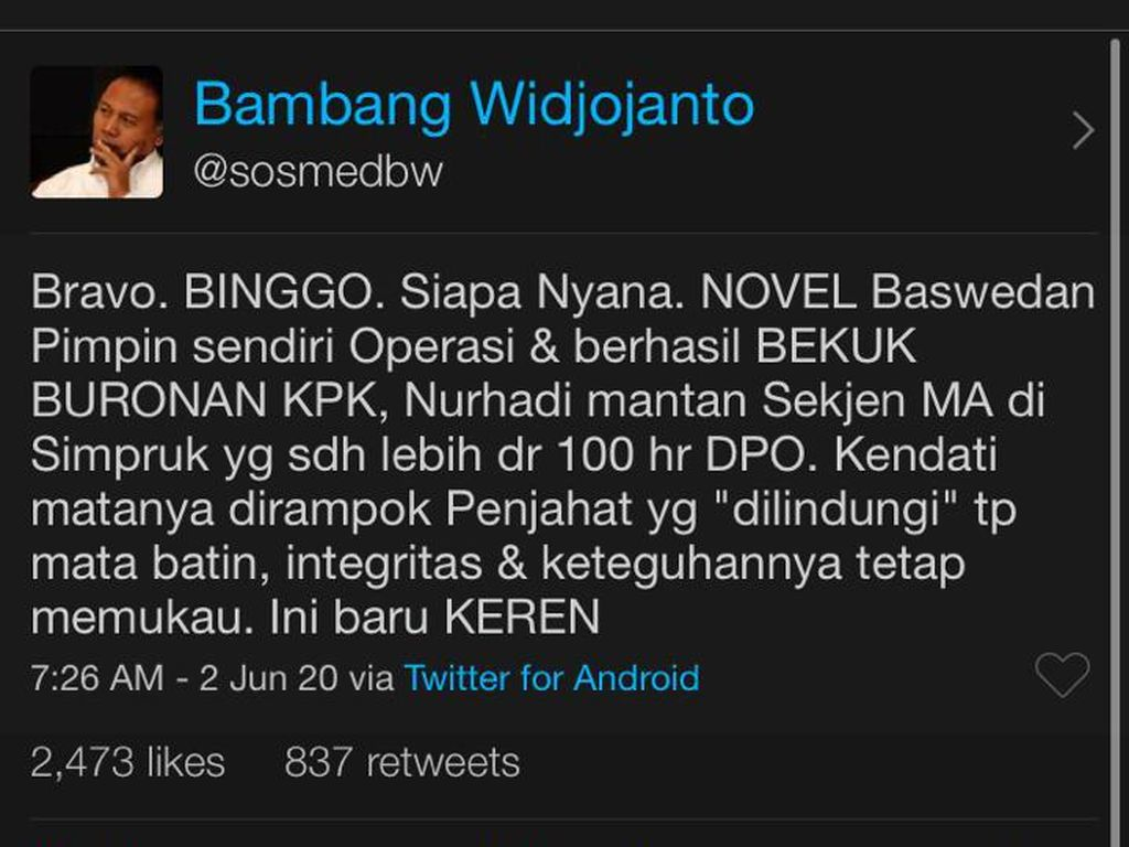 Bambang Widjojanto: Novel Baswedan Pimpin Penangkapan Nurhadi