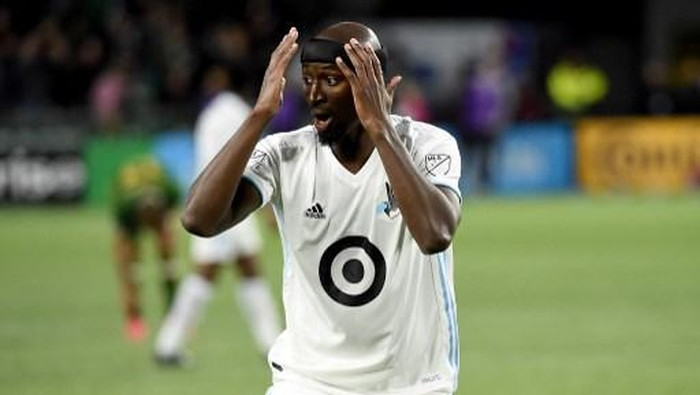 PORTLAND, OREGON - MARCH 01: Ike Opara #3 of Minnesota United reacts to a call during the second half against the Portland Timbers at Providence Park on March 01, 2020 in Portland, Oregon. Minnesota won 3-1.   Steve Dykes/Getty Images/AFP