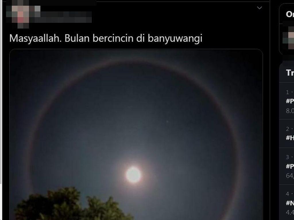 Bulan Bercincin Terlihat di langit Indonesia, Ini Artinya